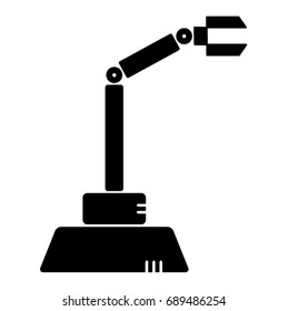 A simple vector design of a robotic arm used in heavy industries in black and white drawing