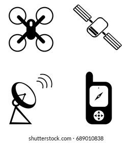 Simple vector design of a set of communication icons including a GPS receiver, satellite dish, satellite and a drone in black and white drawing