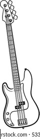 a simple vector Electric Bass Guitar line art illustration