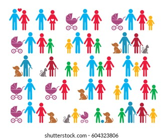 Simple vector family infographic silhouette icons collection isolated