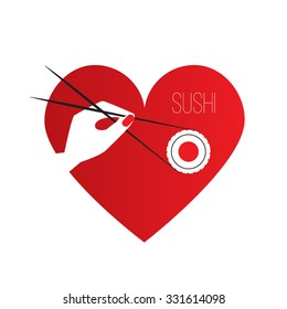 Simple vector flat logo of sushi bar. Hand holding a piece of sushi maki with Chopsticks. Composition in the shape of a heart.