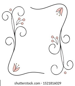 Simple vector florak frame with flowers and berries.