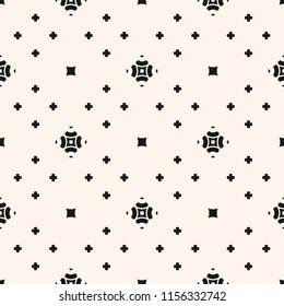 Simple vector floral texture. Geometric seamless pattern with small flower silhouettes. Minimalist abstract monochrome background. Black and white minimal backdrop. Repeat design for decor, gift paper