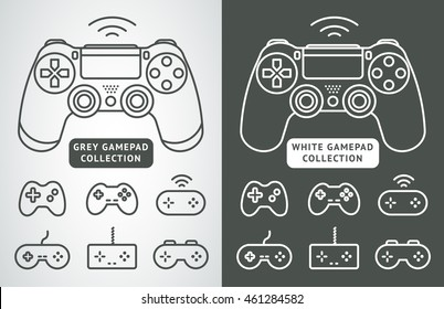 Simple vector gamepad icon set. Joypad, joystick illustration isolated on white background. Simple game elements