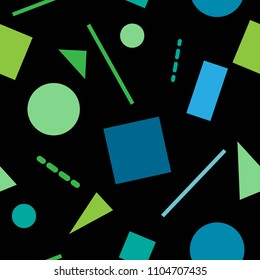 Simple vector geometric seamless pattern from circles, squares, triangles and lines. On a black background