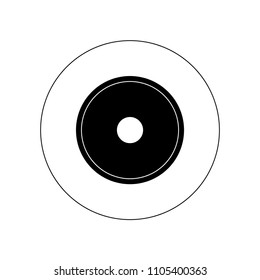 Simple vector gramaphone record icon with reflection. Disc symbol.