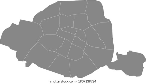 Simple vector gray map with white borders of arrondissements of Paris, France