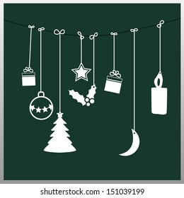 Simple vector green christmas card