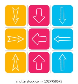 Simple vector hand drawn arrows collection colourful buttons