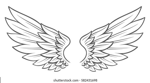 Simple vector hand drawn open wings isolated on white. Cool tattoo style flapping angel wings.