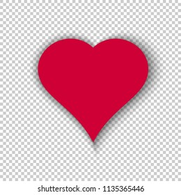 Simple vector heart isolated on transparent background. Modern illustration with realistic shadow. Template for valentines day, love and other cards. High quality