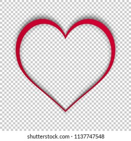 Simple vector heart isolated on transparent background. Modern illustration with realistic shadow. Template for valentines day, love and other cards. High quality heart frame. Vector stock.