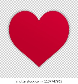 Simple vector heart isolated on transparent background. Modern illustration with realistic shadow. Template for valentines day, love and other cards. High quality pictogram of relationship.