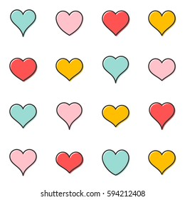 Simple vector heart outline icons pastel colors collection
