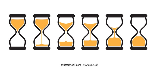 Simple Vector Hourglass Collection. Sand Clocks for Sprite Sheet Animation. Vintage Hourglass Timer Sand as Countdown Illustration