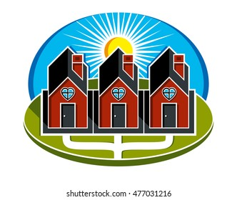 Simple vector houses with pathway leading to them. Family harmony at home, love and relationship idea. Three buildings with heart symbol.