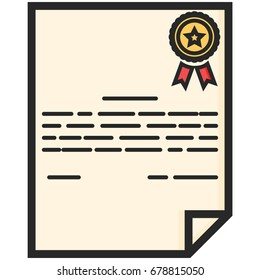 Simple Vector Icon of a classic certificate in flat style. Pixel perfect. Basic education element. School and office tool. Back to college.