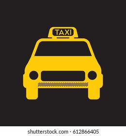 A simple vector icon of a generic yellow taxi cab on a black background.