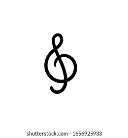 Simple vector icon. Hand drawn g clef.