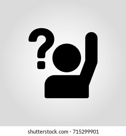 Simple vector icon with man or person with raised hand and a question mark. Uncertain person asking question icon