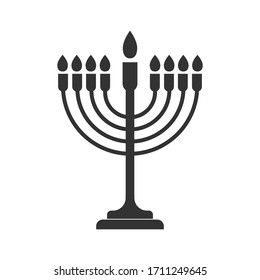 simple vector icon of the menorah, a seven-candle candlestick. Stock design isolated on a white background for websites and apps