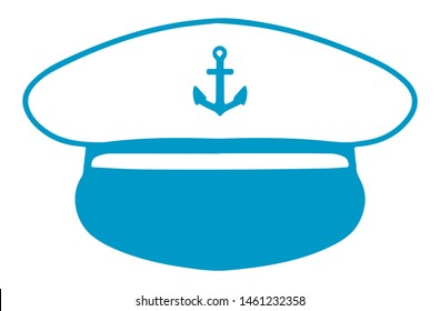 Simple vector icon of a nautical captain's hat