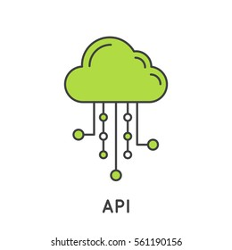 Simple Vector Icon Style Illustration of Application Programming Interface API Technology