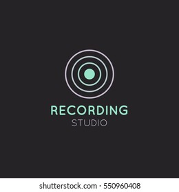 Simple Vector Icon Style Music Logos. Recording Studio Label. Podcast and Radio Badge with Sample Text. Design with Waves, Headphones and Mixing console