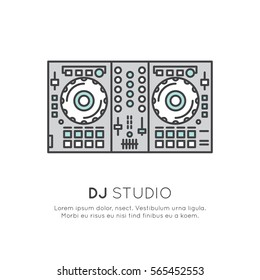 Simple Vector Icon Style Music Logos. Recording Studio Label. Podcast and Radio Badge with Sample Text. Design with Mixing console DJ