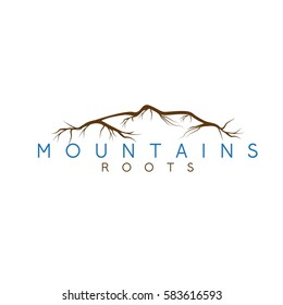 simple vector illustration of the abstract mountains and roots