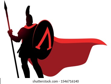 Simple vector illustration of ancient warrior wearing helmet and red cloak
