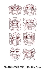Simple Vector illustration of barong bali mask. Set of black and white vector illustrations.