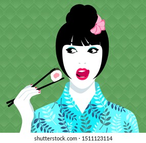 Simple vector illustration of beautiful young woman wearing blue kimono with floral pattern, holding chopsticks and eating sushi against background with seamless geometric abstract pattern