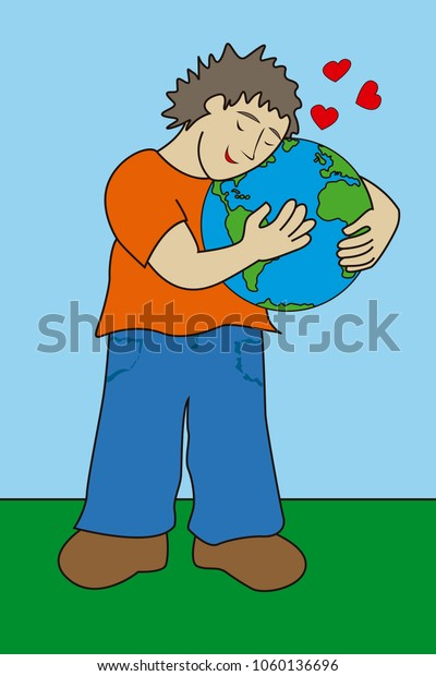 Simple vector illustration of a boy hugging and loving planet Earth