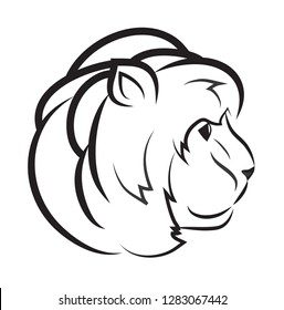 Simple vector illustration. Contours of a lion's head, tattoo