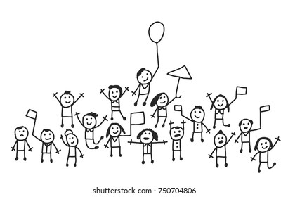 Simple vector illustration of crowd of people cheering welcome or goodbye