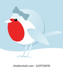 simple vector illustration of a cute female robin redbreast standing in the snow