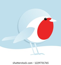 simple vector illustration of a cute male robin redbreast standing in the snow