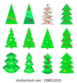 Simple vector illustration of different christmastrees
