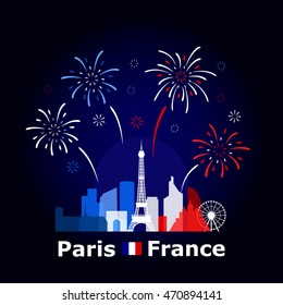 Simple vector illustration of fireworks above Paris cityscape, colored based on France national flag. Famous buildings and monument included.