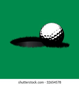 Simple vector illustration of a golf ball sitting near the edge of the hole.
