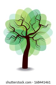 simple vector illustration of green tree