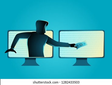 Simple vector illustration of a hacker stealing money, concept of cyber crime, malware, virus, and cyber security