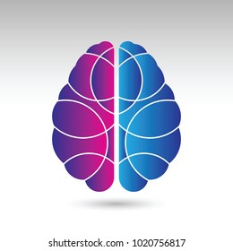 A simple vector illustration of a human brain from a top down view. This brain icon is divided into the left and right sections using two different colors.