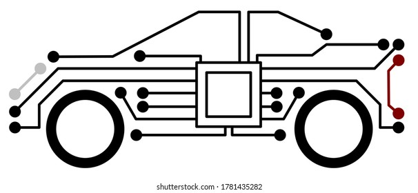Simple vector illustration of a modern car with digital circuits showing the electronics and artificial intelligence inside which can be used as a logo