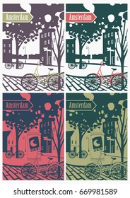 Simple vector illustration of old typical Amsterdam city street, with trees, bikes, signs, canals and houses. In two colors.
