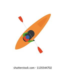 Simple vector illustration with person on the sea kayak. View from above.