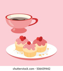 Simple vector illustration of the pink muffins with red berries on top served with cup of hot coffee. Simple and minimalist design elements.