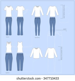 Simple vector illustration. Set of different white T-shirts in front and back views with basic types of blue women`s jeans.