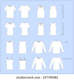 Simple vector illustration. Set of men's and women's clothes. Different T-shirts in front and back views.